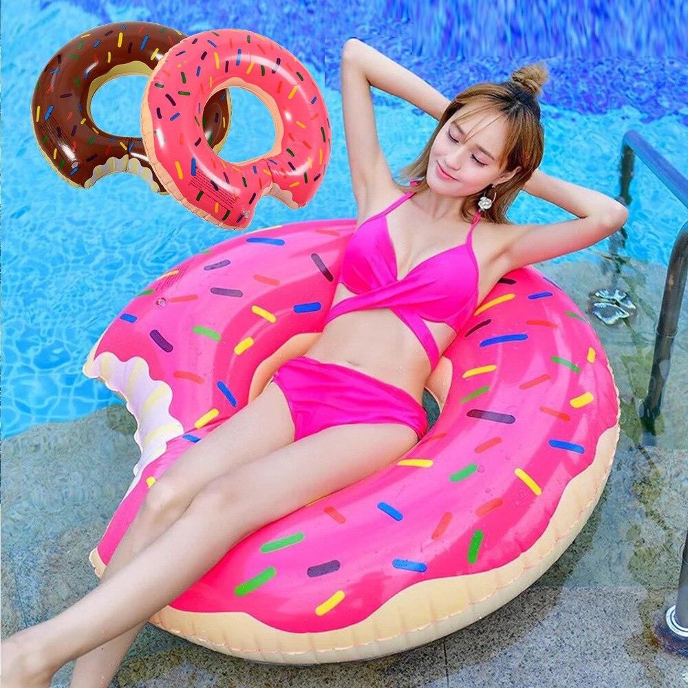 Summer PVC Swimming Ring Adult Children Inflatable Cartoon Printed Swim Circle 2 Flavors Sweet Chocolate Strawberry Swimming Lap