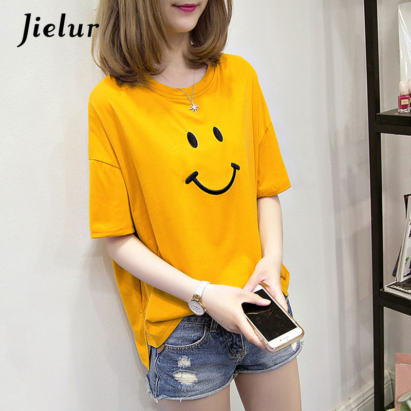 Jielur 2018 Summer Cute Smiley Embroidery T-shirt Preppy Style Short Sleeve Tops Kawaii Loose M-XXL 5 Colors Women's T-shirts