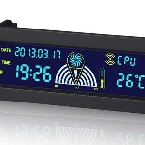 Image 2 - 5.25 بوصة 12 فولت جهاز كمبيوتر شخصي جهاز تحكم بالمروحة 3 جهاز تحكم في سرعة المروحة درجة الحرارة الاستشعار LCD شاشة ديجيتال اللوحة الأمامية للكمبيوتر