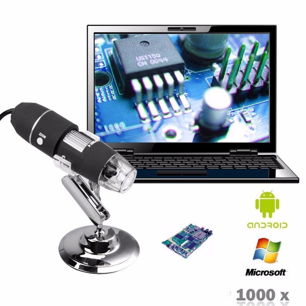 Mini 0-1600x Microscopio USB 2.0 Digital Ampliaci/ón Electr/ónica Endoscopio Lupa 2MP 8 LED Mini c/ámara con adaptador OTG y soporte de metal compatible para Mac Windows 1600X Talla:3