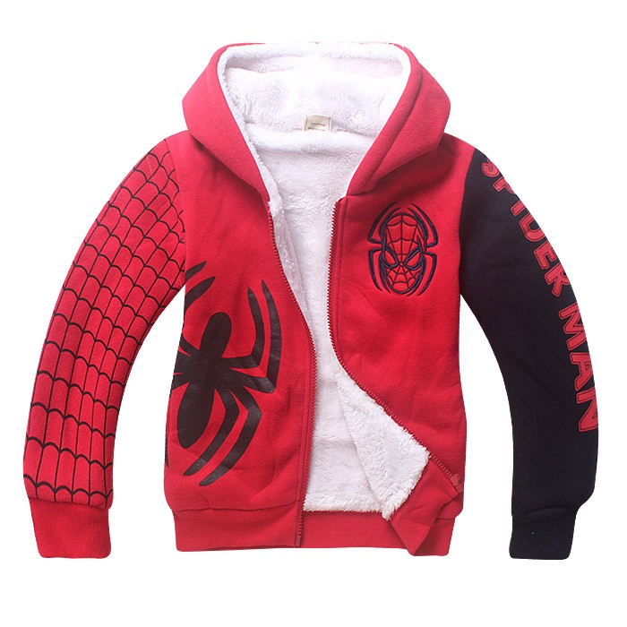 5-9 Y Spiderman hoodie boy jackets fur coat kids hooded bomper jacket winter autumn warm outwear cloth Size For 5 6 7 8 9 years (8)