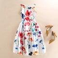 Mulheres Colorido Floral de Impressão Sem Mangas Colete Vestidos de Festa Primavera Verão Desfile de Moda Casual Vestido Branco vestido de festa