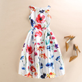 Women Colorful Floral Print Sleeveless Vest Party Dresses Spring Summer Fall Runway Fashion Casual White Dress vestido de festa