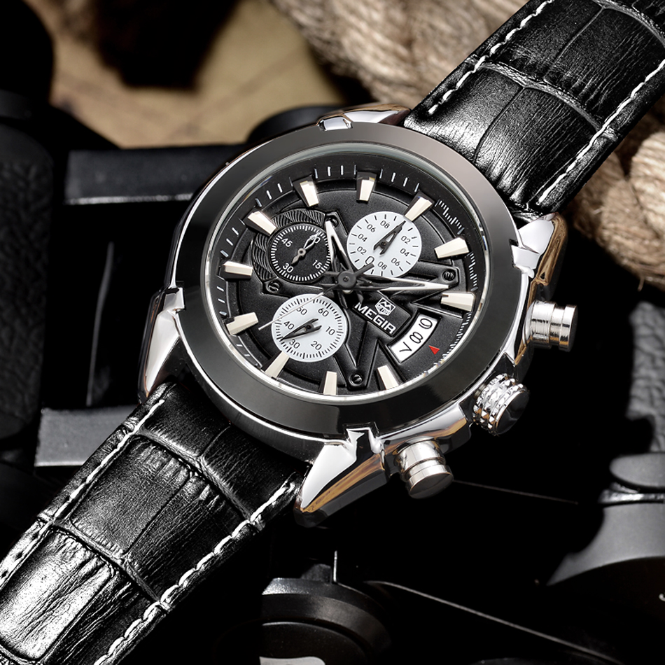 MEGIR Brand Luxury Fashion Casual Watches Mens Wristwatch Chronograph Male Clock Sports Uhr Leather Quartz-Watch Reloj Hombre new listing men watch luxury brand watches quartz clock fashion leather belts watch cheap sports wristwatch relogio male gift