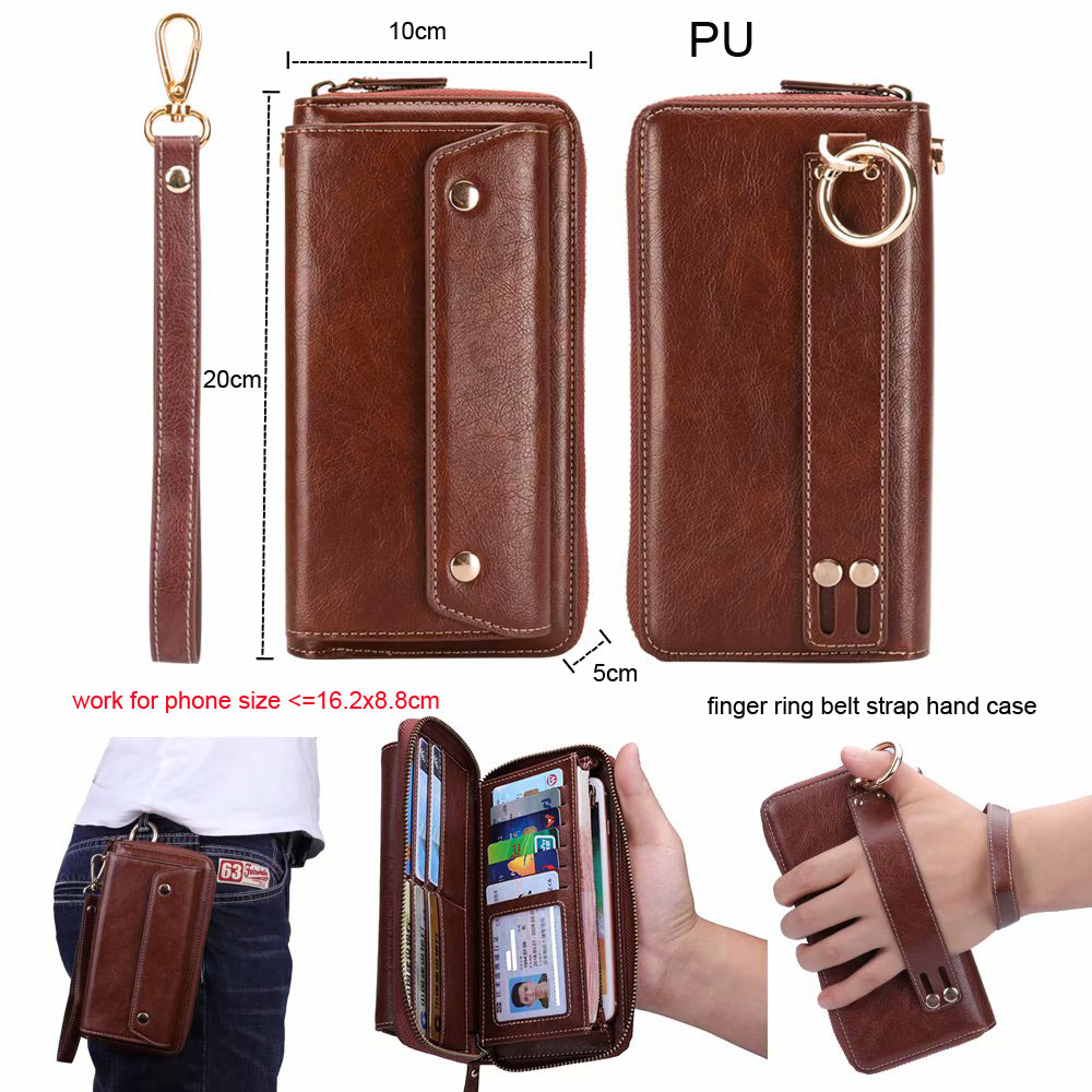 Finger Ring Belt Hand Strap PU Wallet Phone Case Pouch For Xiaomi Pocophone F1,Mi A2 Lite,Redmi Note 6 Pro K2 Mi 9T ,Oppo F9 Pro iphone xs 財布