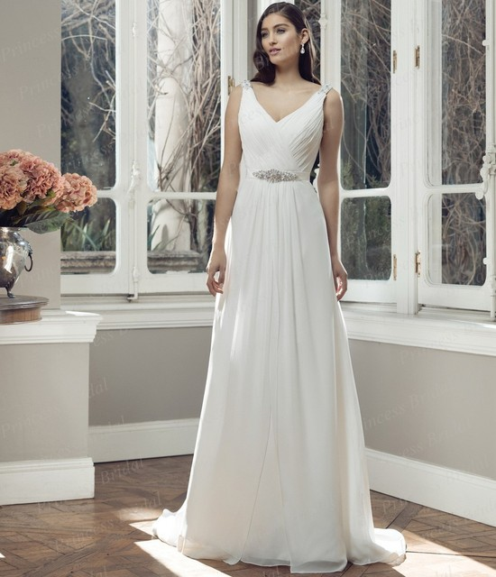 02851ff532f Free Shipping Simple But Elegant Bridal Gown Sheath V Neck V Back Sweep  Train Flowing Chiffon