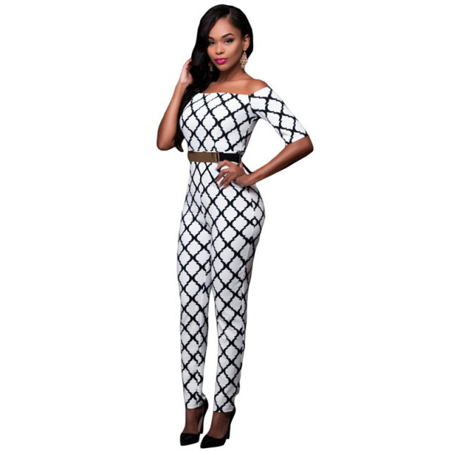 Aleumdr Elegant Slash Neck Jumpsuits For Women Monochrome Print Black/White Belted Off Shoulder Jumpsuit Macacao Feminino Longo