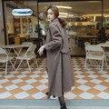 Европа и америка стиль мода большой лацкане шерстяное пальто с поясом сгущает x-долго зима траншеи пальто женщин casaco feminino NDY10-1