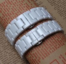 Alta calidad popular correas de reloj correa de cerámica blanca pulseras nunca se descolora para reloj 14 mm 16 mm 18 mm 20 mm cierre de metal