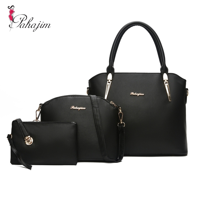 7706480d498c Pahajim Brand women 3 pcs handbag women large tote bag PU leather shoulder  messenger bags female small coin purse dropshipping