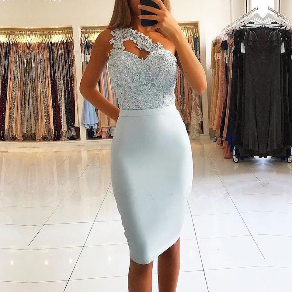 Light Blue Short Prom   Dresses   2019 Sheath One Shoulder Lace Knee Length wedding guest   dress   for wedding party   bridesmaid     dresses