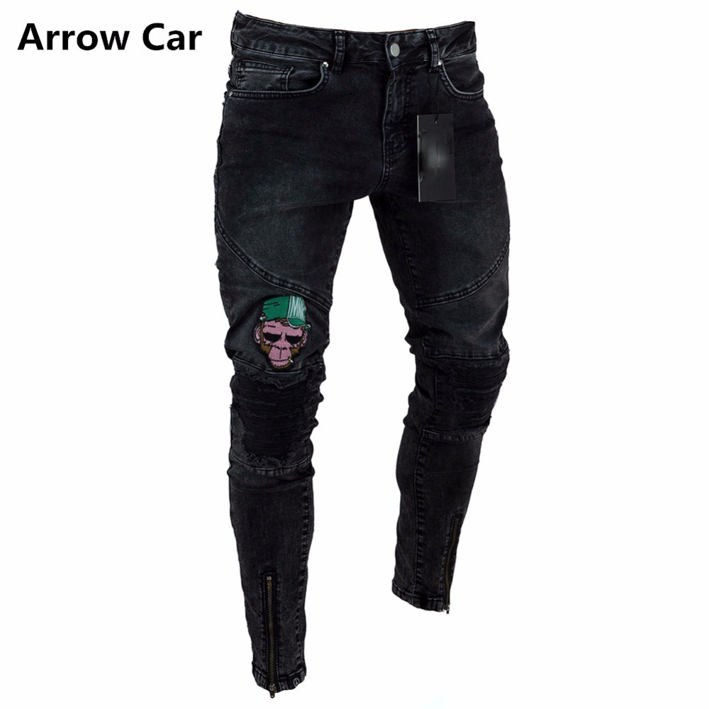 Arrow Car Slim Jeans Men 2018 New Summer Skinny Frayed Pants Distressed Ripped Jeans For Men