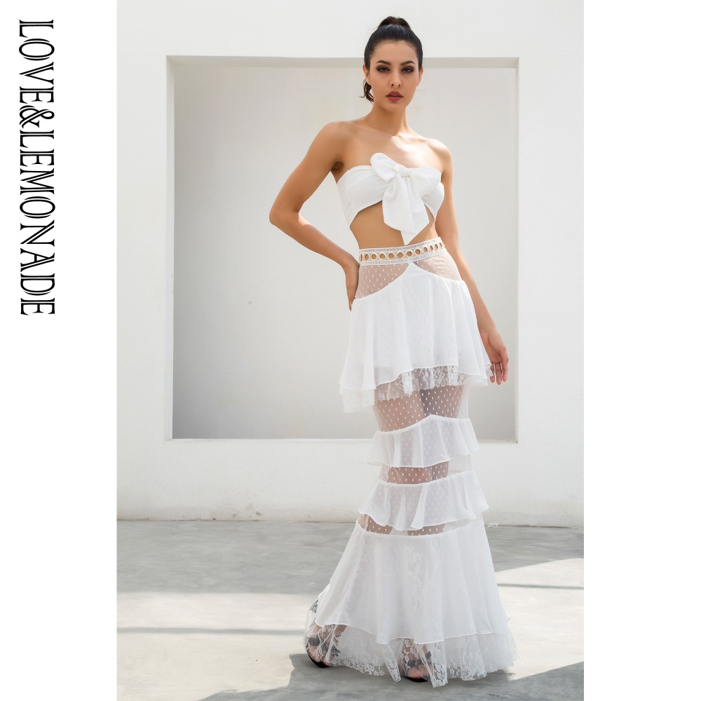 Love&Lemonade  White Straps Tube Tops Metal Lace Lace Two Pieces Sets LM0883-in Women's Sets from Women's Clothing    1