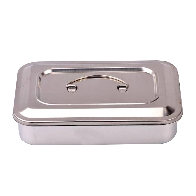Vinmax,Medical Stainless Steel 9 Inch Sterilizer Box Storage Boxes & Bins Square Dish With Lid Dental Instruments