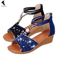 Flats female pearl buckle sandals slope with the fish head shoe bohemian sandals women shoes News rhinestone Summer new open toe