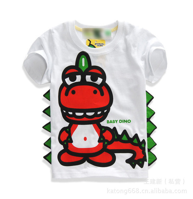 2-8Years kids t-shirts baby cute clothes kids top girls t-shirt boys clothes 3D Dinosaur printing summer clothing short sleeves