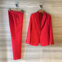 Red Blazer Suit Fashion Solid Color Single Button 2018 Elegant Women Pant Suits Set With Jacket