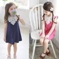 Летняя мода, стиль дети одеваются девушки хлопкового кружева мило платье без рукавов Новый детская Одежда Для девочек для платье принцессы