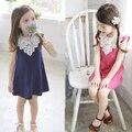 Estilo de moda de verano vestido de los niños niñas de encaje de algodón lindo vestido sin mangas de la Nueva Ropa de Los Cabritos de los bebés visten princesa
