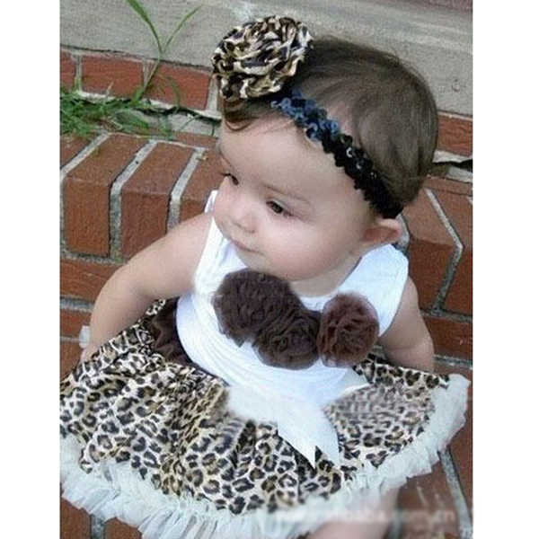 Infantes bebés niñas niños tutú vestido flores falda superior leopardo trajes ropa 1-4Y 2 uds conjuntos caliente