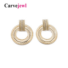 Carvejewl drop dangle earrings metal round circle beaded new career fashion European plastic post anti allergy