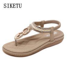 Siketu летние женские сандалии Повседневные Удобные алмазные плоские вьетнамки женские босоножки Большие размеры мягкой подошвой пляжная обувь 40 41