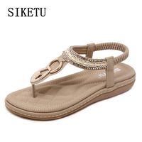 Summer Female Sandals Casual And Comfortable Diamond Flat Sandwich Toe Women S Sandals Large Size Soft