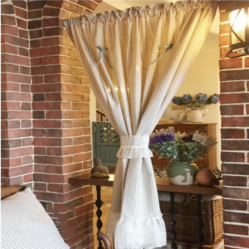 JUYANG. Light beige pinstriped curtains. Lace curtains. Bay window decorated with sunshade curtains.