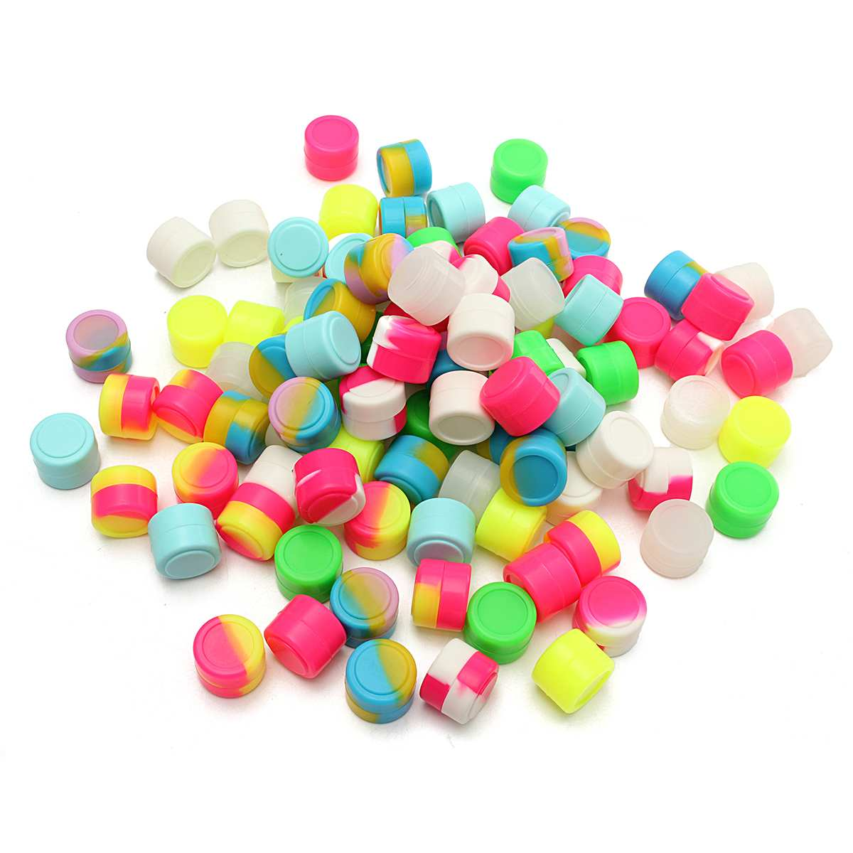 100Pcs 2ML Mini Round Non-stick Silicone Container For Wax Bho Oil Butane Vaporizer Silicon Jars Dab Wax Container Wax Jars