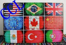 Free shipping 6 Styles National flag tin signs,Vintage metal signs flag of USA UK Brazil Canada wall art decoration ,30x20cm(China)
