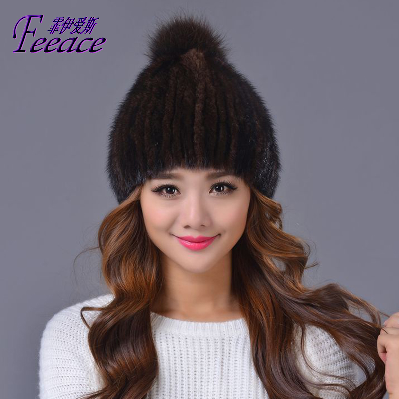 Skullies Beanies Mink mink wool hat,Cap Mink fur hat,lady fur hat, winter mink hair knit hat, fashionable STRIPE ELASTIC skullies beanies mink mink wool hat hat lady warm winter knight peaked cap cap peaked cap