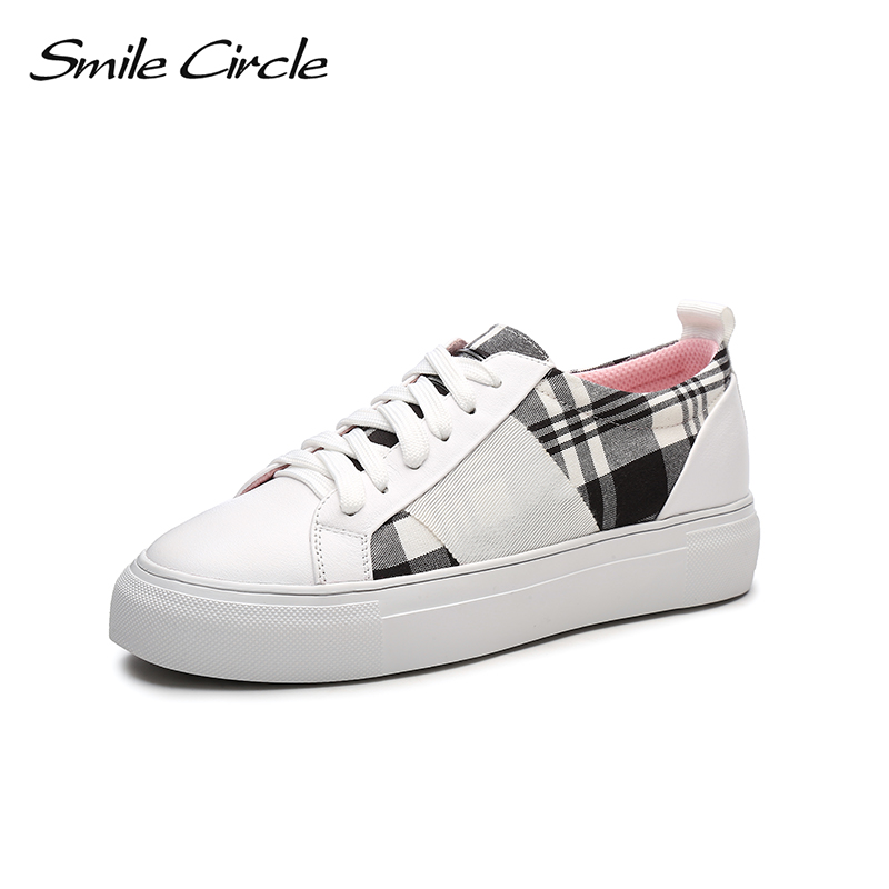 Smile Circle 2018 Spring Genuine Leather Sneakers Women Fashion Lace-up Flat Platform Shoes Girl Casual Shoes A9A8119-2 smile circle genuine leather sneakers women lace up flat shoes women comfortable air cushion sneakers 2018 casual shoes