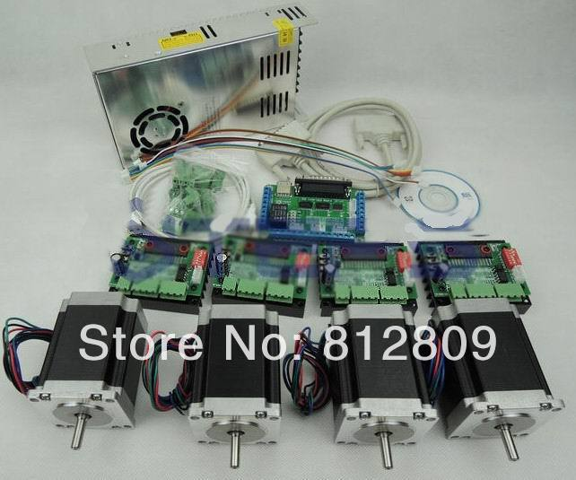 CNC kit 4 axis controller kit, 57 78mm 3A stepper motor + CNC 3 Axis TB6560 Stepper Motor Driver +250W Power supply 4 axis cnc kit  nema23 3a 270 oz in