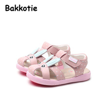 Bakkotie 2017 New Arrival Fashion Summer Baby Leisure Flats Brand Cute Rabbit Sweet Girl Shoe Pink