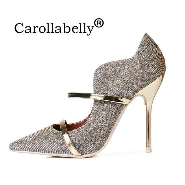 Carollabelly Sexy Glitter Marca Sapatos Starp Bico fino Salto Alto 8 cm ou  10 cm Sapatos e7cd9a0399f3