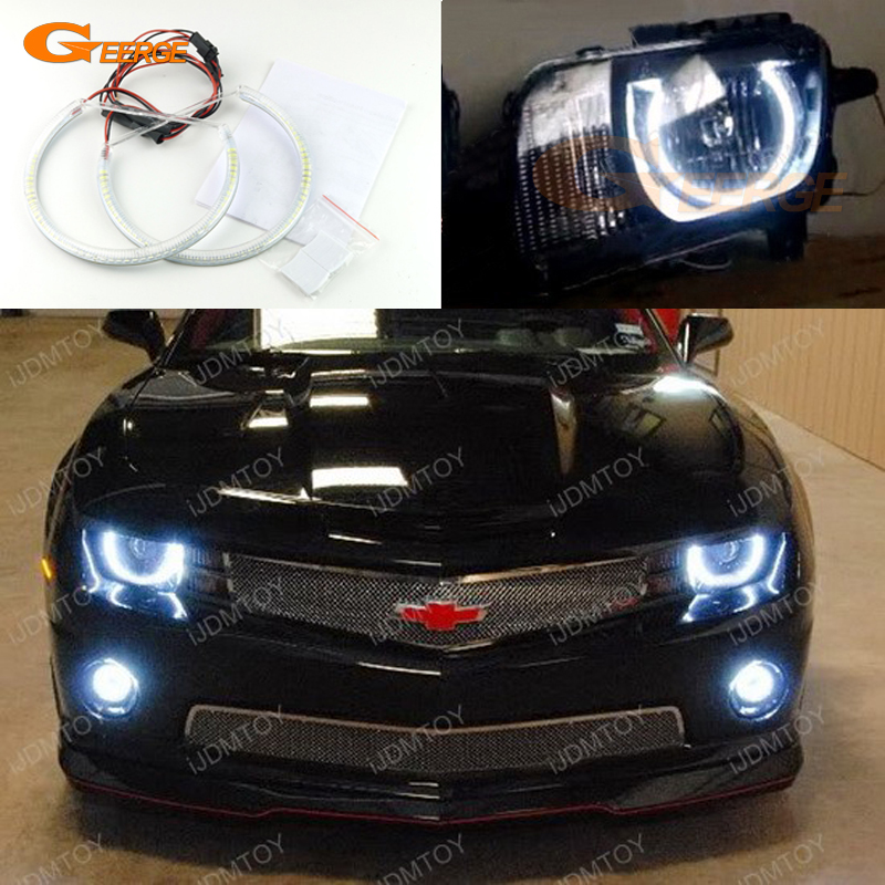 For Chevrolet Chevy Camaro 2010 2011 2012 2013 Headlight Excellent Angel Eyes Ultra bright smd led Angel Eyes Halo Ring kit 2pcs purple blue red green led demon eyes for bixenon projector lens hella5 q5 2 5inch and 3 0inch headlight angel devil demon