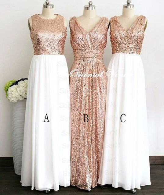 Glittering Rose Gold Sequins Bridesmaid Dress White Chiffon Long Bridesmaid  Dresses Custom Color Formal Prom Dress c973659e294f