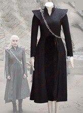2017 Game Of Thrones Daenerys Targaryen Cosplay Costume Black Fancy Dress Halloween Costumes for Women/Kids Custom Any Size