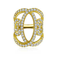 AINUOSHI 14K Solid Yellow Gold Flower Hollow Band Cluster CZ Multi Layer Twist Bague Wedding Engagement Ring for Women Jewelry