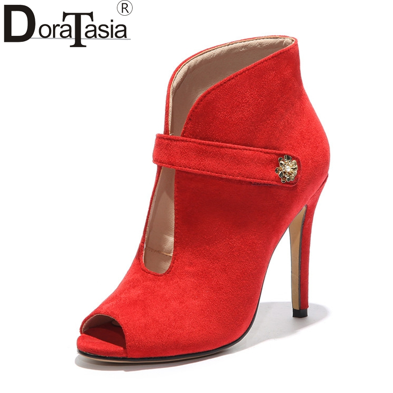 DoraTasia Sexy Women's Summer Thin High Heels Peep Toe Ankle Boots 2018 Black Red Nubuck Upper Shoes Woman Big Size 33-43 apoepo red pom poms peep toe sandals boots clear pvc front zip stiletto high heels ankle boots summer shoes woman big size 2018