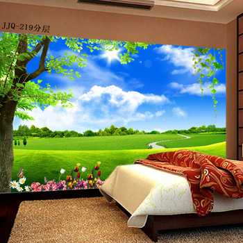 цена на Large 3D mural wallpaper green woodland landscape wall covering fresh summer painting living room bedroom TV Sofa backdrop wall