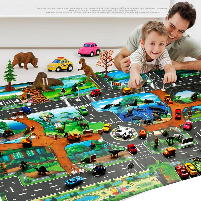 Children Dinosaur Map Toy Indoor Crawling Mat Game Pad 130*100CM Pretend Play Interactive Toy Early Education Gifts  Boys Girls dinosaur world jurassic park scene play mat kids