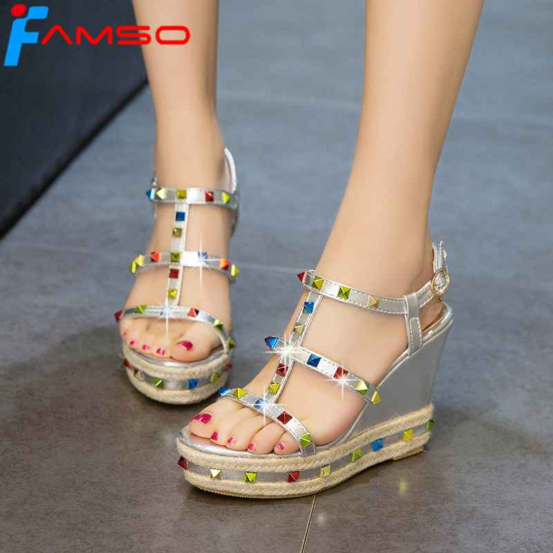 FAMSO Size34-43 2018 New Shoes Women Sandals Gold Silver Rivets Shoes Wedges Pumps Summer High Heels Fashion Sandals Shoes phyanic 2017 gladiator sandals gold silver shoes woman summer platform wedges glitters creepers casual women shoes phy3323