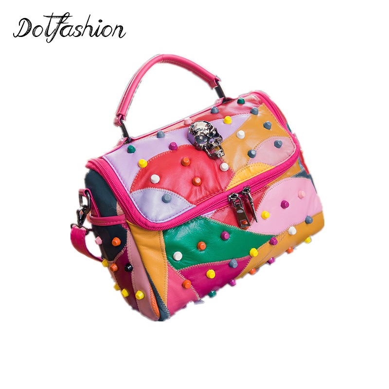 2017 Fashion Women's Genuine Leather Rivet Handbag Tote Bags Handbags Female Famous Brands Lady Crossbody Bag Shoulder Bag Girls