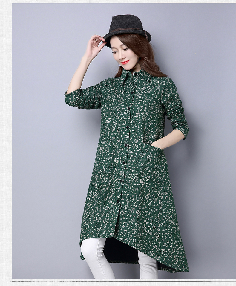 BUYKUD Vintage Shirt-Coats 2018 Autumn Winter New Long Sleeve Printed Coat Office Lady Irregular hem Women Button Linen Coats 14