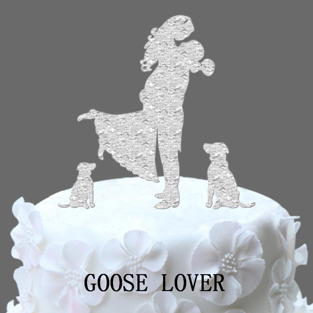 Wedding Cake Topper Bride And Groom Silhouette With Shih Tzu Dog And ...