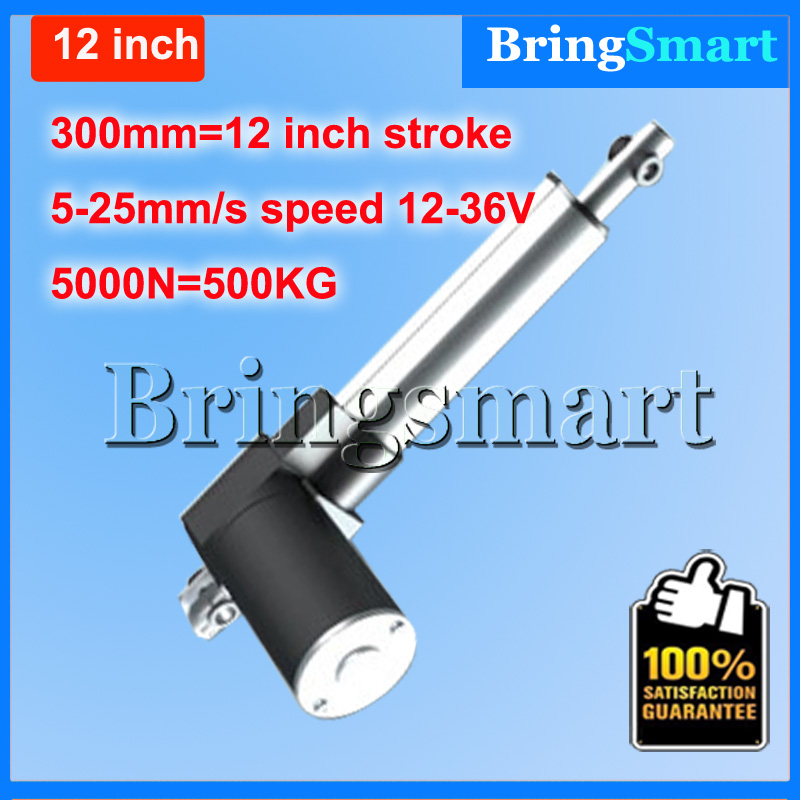 Wholesale 12-36V 300mm 12 inch linear actuator 12V 5000N 500KG Load 5-30mm/s Customized Speed mini electric 24v Tubular Motor wholesale 12v linear actuator 150mm 6 inch stroke 7000n 700kg load waterproof 36v tubular motor 48v mini electric actuator 24v