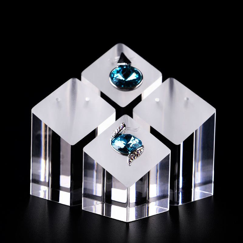 Oirlv 4pcs Acrylic Jewelry Rings Earrings Pendant Display Stand Shop Showcase