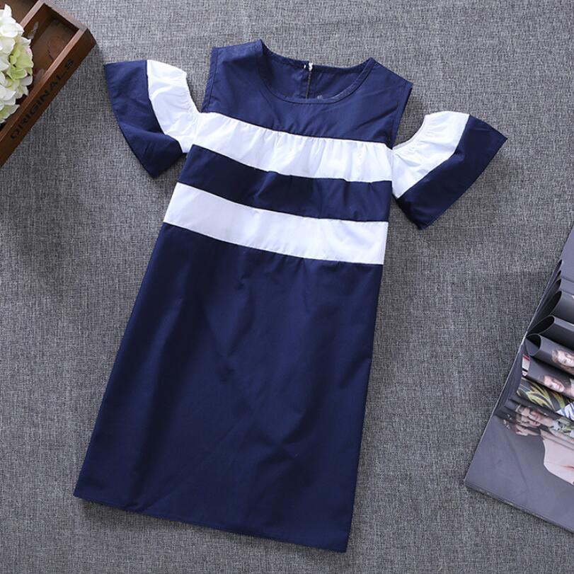 Girl Dress Summer 2018 Off Shoulder White Navy Blue Striped Child Toddler Teenage Clothes Casual Kids Dresses For Girls JW3516