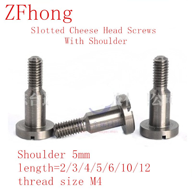10pcs <font><b>M4</b></font> thread Slotted Cheese Head Screws with Shoulder 5mm, shoulder length 2/3/4/5/6/8/10/12/15/<font><b>20mm</b></font> image